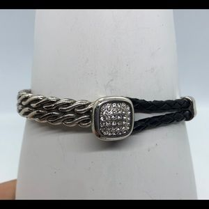 Braided black leather and silver bracelet